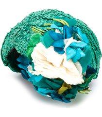 a.n.g.e.l.o. vintage cult 1950s floral appliqué raffia hat - green