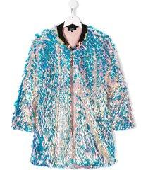 andorine sequin embellished cape jacket - pink