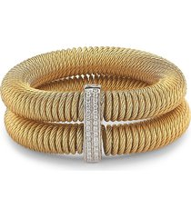 alor women's kai 18k white gold & yellow-tone stainless steel diamond tiered coiled bangle bracelet