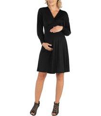 24seven comfort apparel long sleeve v-neck maternity cocktail dress