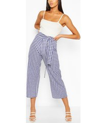 tall gingham belted woven culottes, navy