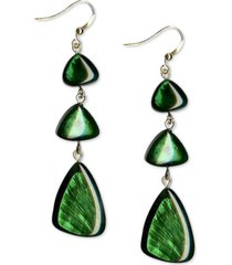 style & co gold-tone green resin shell triple drop earrings, created for macy's