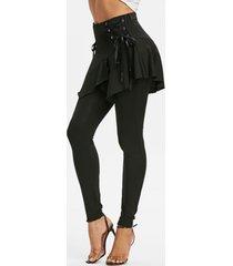 plain lace up asymmetrical skirted leggings