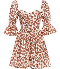 cedro sweetheart-neck bermelo-print linen mini dress