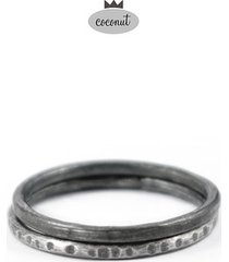 pierścionek texture - 2 obrączki srebro t15