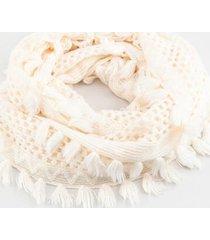brynn fringe open knit scarf - ivory