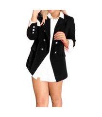 blazer feminino botões dourados estilo balmain top qualidade acinturado moderna preto
