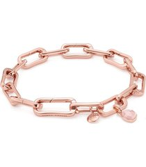 alta capture charm bracelet and siren mini bezel pendant charm set - rose quartz