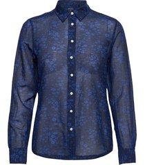d2. fall flower cot slik shirt overhemd met lange mouwen blauw gant