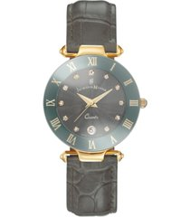 jacques du manoir ladies' grey genuine leather strap with goldtone case and grey dial with diamond markers, 33mm