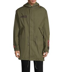 as65 men's lace-back patchwork parka - army green - size s