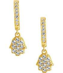 14k gold vermeil & crystal hamsa micro hoop drop earrings
