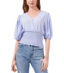1.state smocked puff-sleeve top