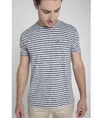 camiseta rayas horizontales hombre delascar - azul ts009