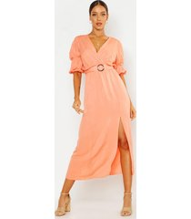 puff sleeve horn buckle midaxi dress, apricot
