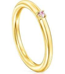 anillo tous ring mix de plata vermeil y zafiro rosa 18165571