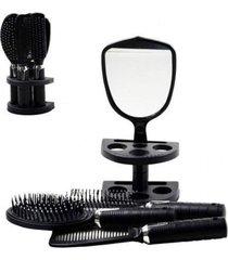 kit 5 peças penteadeira beleza espelho escovas pente suporte