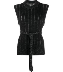 mm6 maison margiela belted sleeveless jumper - black