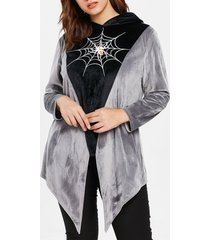 asymmetrical plus size spider web hoodie
