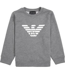 emporio armani grey modal blend sweatshirt with logo