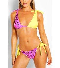 contrast animal tie bikini & scrunchie, pink