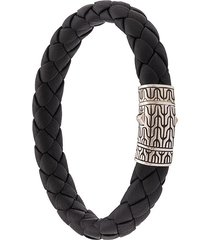 john hardy silver classic chain woven leather bracelet - black