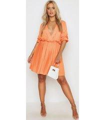 plus ruffle plunge detail pleated skater dress, orange