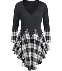 plus size plaid v neck asymmetrical tunic tee