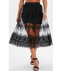 mesh crochet tiny floral skirt