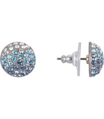 nina small pave swarovski crystal button earrings in blue/silver at nordstrom