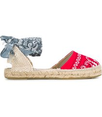 manebi bandana-print lace-up espadrilles - red