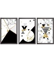 conjunto kit 3 quadro oppen house s 60x120cm escandinavo forset com vidro e moldura preta      quadro oppen house s decorativos