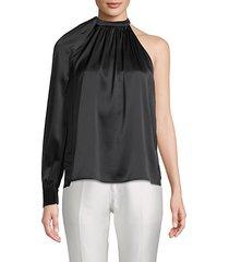 piper stretch silk one-shoulder top