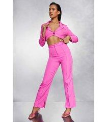geplooide getailleerde broek met voorsplit, pink