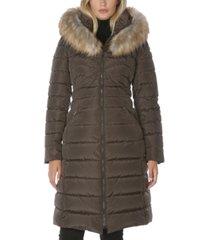 laundry by shelli segal faux-fur-trim hooded puffer coat