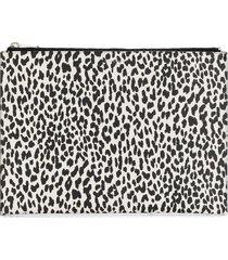 saint laurent leopard-print zip clutch - white