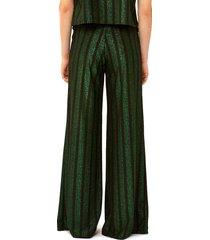black and green glitter striped palazzo pants