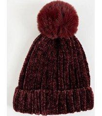 dottie rib knit fur pom beanie - burgundy