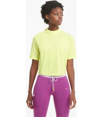 puma x first mile mock t-shirt dames, geel, maat xs