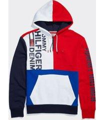 tommy hilfiger men's adaptive colorblock hoodie bright white / multi - l