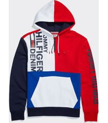 tommy hilfiger men's adaptive colorblock hoodie bright white / multi - l