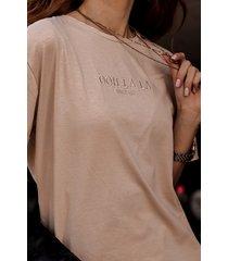 t-shirt z firmowym haftem ooh la la beż