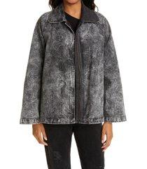 women's norma kamali acid wash denim jacket, size 0 - black