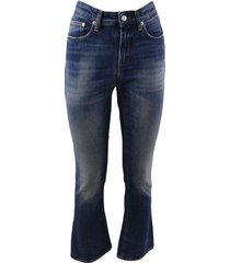 5-pocket flared jeans in dark denim