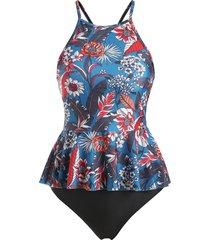 flower criss cross peplum tankini swimwear