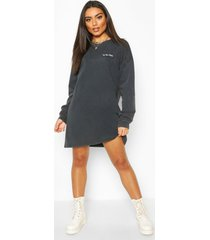 acid wash embroided sweatshirt dress, black