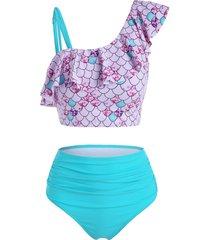 mermaid print flounce overlay skew neck tummy control tankini swimwear