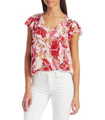 parker women's exie print silk blouse - lennon floral - size xs