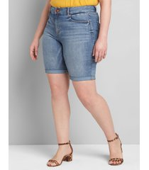 lane bryant women's curvy fit high-rise denim bermuda short - light wash 28 light denim