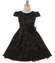 black peek-a-boo layers tulle hi-low style brocade jacquard flower brooch dress